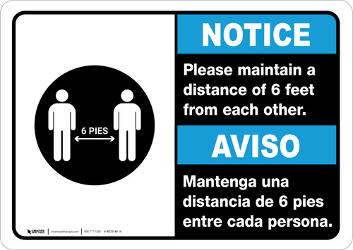 Notice: Please Maintain A Distance Of 6 Feet Bilingual with Icon ANSI Landscape - Wall Sign
