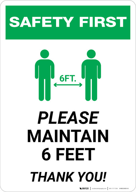 Safety First: Please Maintain 6 Feet with Icon Portrait - Wall Sign