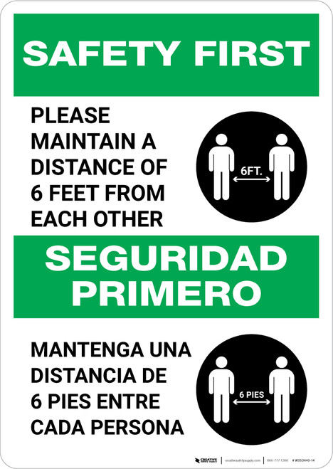 Safety First: Please Maintain A Distance Of 6 Feet Bilingual with Icon Portrait - Wall Sign