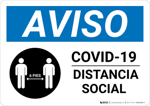 Notice: COVID 19 Social Distancing Spanish with Icon Landscape - Wall Sign