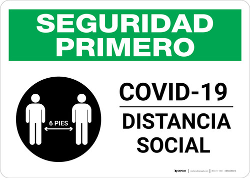 Safety First: COVID-19 Social Distancing Spanish with Icon Landscape - Wall Sign