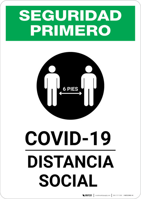 Safety First: COVID-19 Social Distancing Spanish with Icon Portrait - Wall Sign