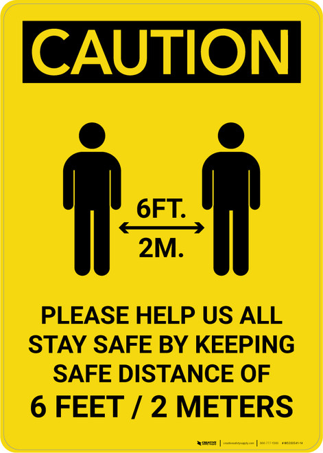 Caution: Please Help Us All Stay Safe By Keeping 2m Distance with Icon Portrait - Wall Sign