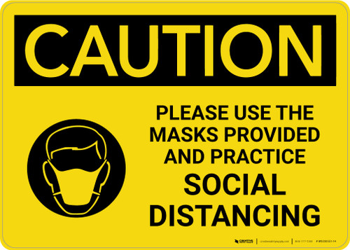 Caution: Please Use the Masks Provided and Practice Social Distancing with Icon Landscape - Wall Sign