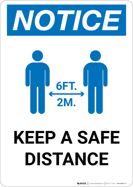 Notice: Keep Distance Maintain 6ft with Icon Portrait - Wall Sign