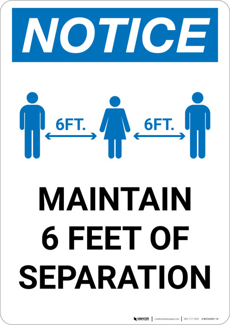 Notice: Maintain 6 Feet of Separation with Icon Portrait - Wall Sign