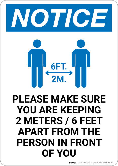 Notice: Make Sure You Are Keeping 6ft Apart with Icon Portrait - Wall Sign