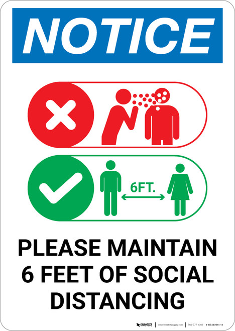 Notice: Please Maintain 6 Feet of Social Distancing with Icons Landscape - Wall Sign