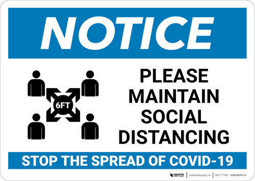 Notice: Please Maintain Social Distancing in Waiting Room Landscape - Wall Sign