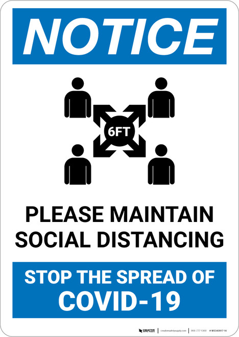 Notice: Please Maintain Social Distancing in Waiting Room Portrait - Wall Sign
