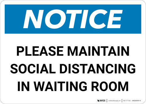 Notice: Please Maintain Social Distancing Stop the Spread with Icon Landscape - Wall Sign