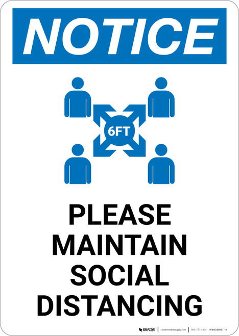 Notice: Please Maintain Social Distancing with Icon Portrait - Wall Sign