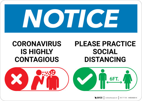 Notice: Please Practice Social Distancing with Icons Landscape - Wall Sign