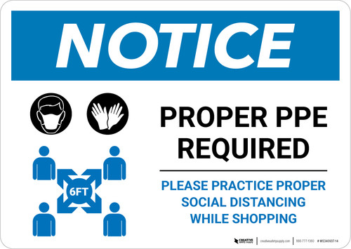 Notice: Proper PPE Required Social Distancing with Icons Landscape - Wall Sign
