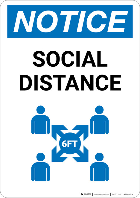 Notice: Social Distance with Icon Portrait - Wall Sign
