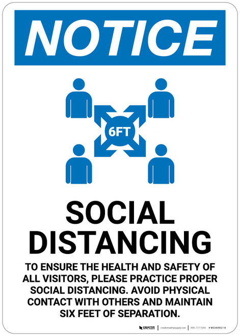 Notice: Social Distancing to Ensure Health with Icon Portrait - Wall Sign
