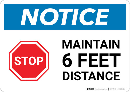 Notice: Stop Maintain 6ft Distance with Icon Landscape - Wall Sign