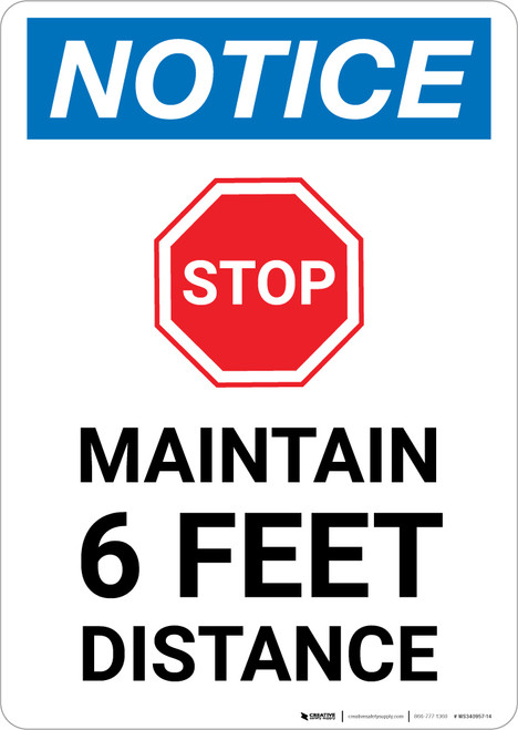 Notice: Stop Maintain 6ft Distance with Icon Portrait - Wall Sign