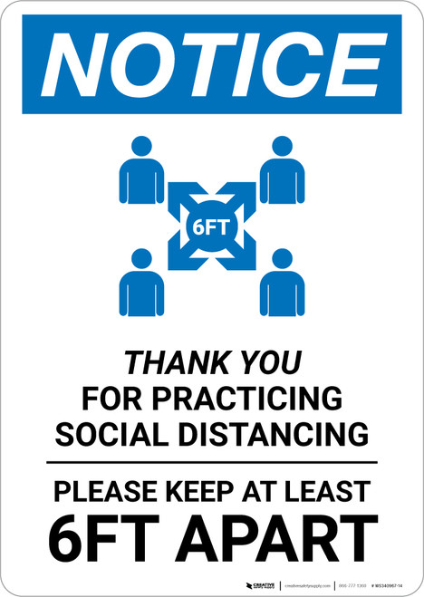Notice: Thank You For Practicing Social Distancing with Icon Portrait - Wall Sign