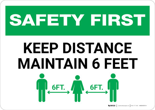 Safety First: Keep Distance Maintain 6ft with Icon Landscape - Wall Sign
