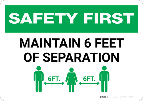 Safety First: Maintain 6 Feet of Separation with Icon Landscape - Wall Sign