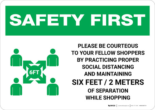Safety First: Please Be Courteous Social Distancing with Icon Landscape - Wall Sign