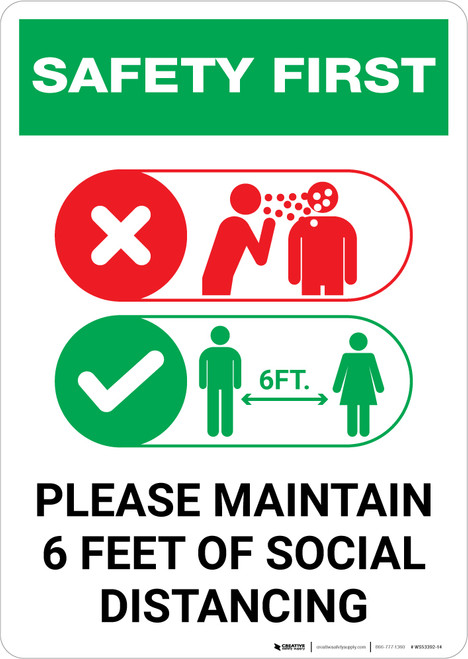 Safety First: Please Maintain 6 Feet of Social Distancing with Icons Portrait - Wall Sign