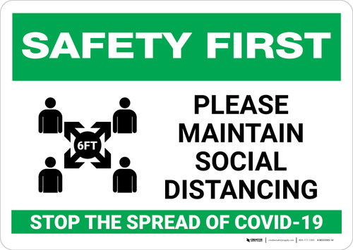 Safety First: Please Maintain Social Distancing Stop the Spread with Icon Landscape - Wall Sign