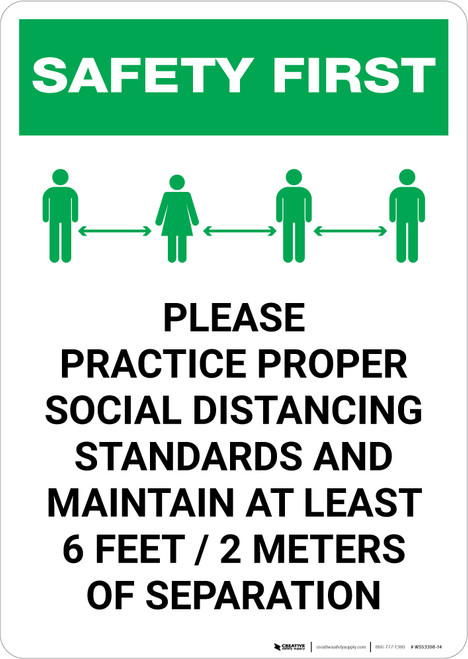 Safety First: Please Practice Proper Social Distancing Standards with Icon Portrait - Wall Sign