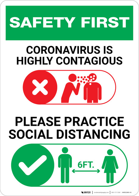 Safety First: Please Practice Social Distancing with Icons Portrait - Wall Sign