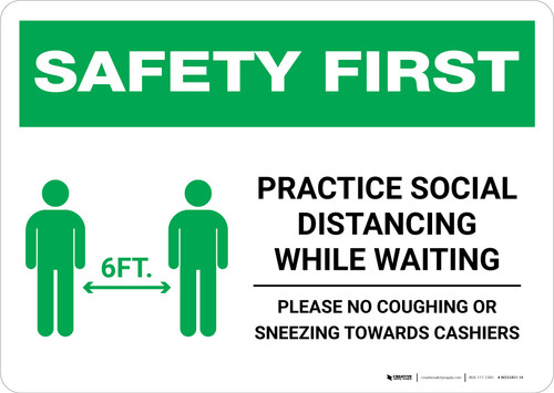 Safety First: Practice Social Distancing While Waiting with Icon Landscape - Wall Sign