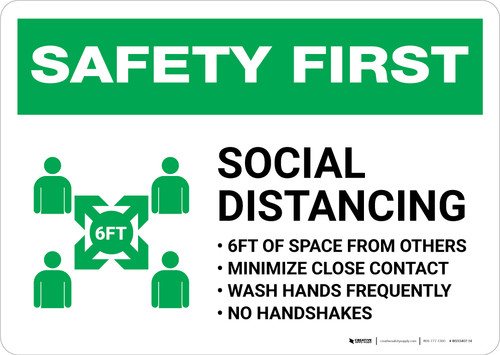 Safety First: Social Distancing 6ft of Space from Others with Icon Landscape - Wall Sign