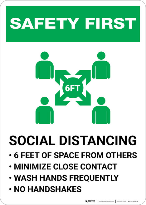 Safety First: Social Distancing 6ft of Space from Others with Icon Portrait - Wall Sign