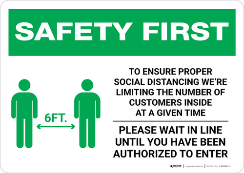 Safety First: Social Distancing as a Public Facility with Icon Landscape - Wall Sign