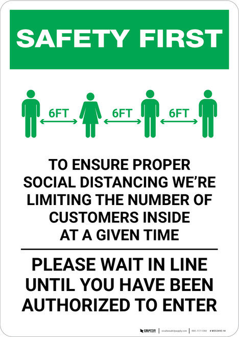 Safety First: Social Distancing as a Public Facility with Icon Portrait - Wall Sign