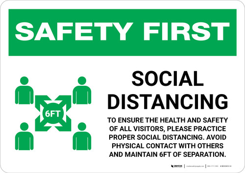 Safety First: Social Distancing to Ensure Health with Icon Landscape - Wall Sign