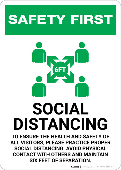 Safety First: Social Distancing to Ensure Health with Icon Portrait - Wall Sign