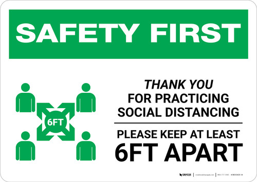 Safety First: Thank You For Practicing Social Distancing with Icon Landscape - Wall Sign
