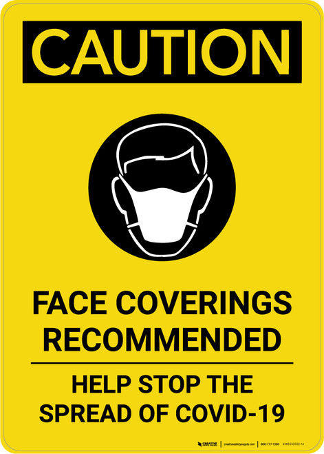 Caution: Face Coverings Recommended COVID-19 with Icon Portrait - Wall Sign