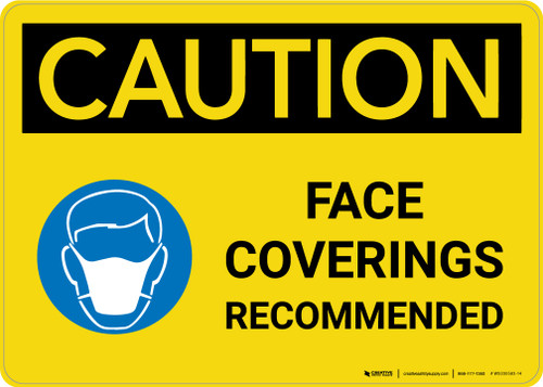 Caution: Face Coverings Recommended with Icon Landscape - Wall Sign