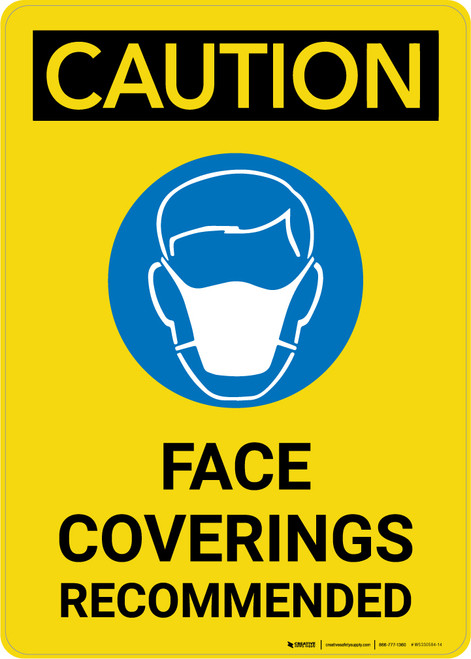 Caution: Face Coverings Recommended with Icon Portrait - Wall Sign