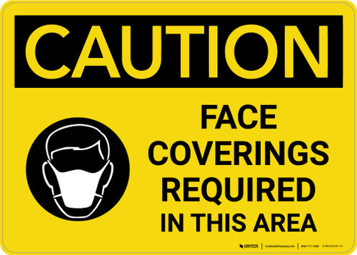 Caution: Face Coverings Required In This Area with Icon Landscape - Wall Sign