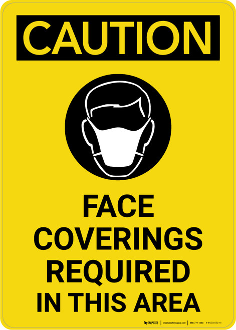 Caution: Face Coverings Required In This Area with Icon Portrait - Wall Sign