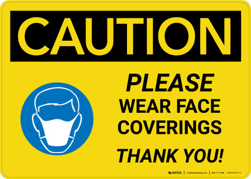 Caution: Please Wear Face Coverings with Icon Landscape - Wall Sign