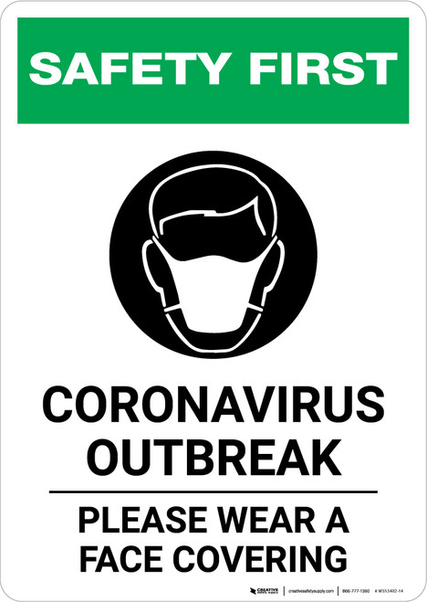 Safety First: Coronavirus Outbreak Please Wear Face Coverings with Icon Portrait - Wall Sign