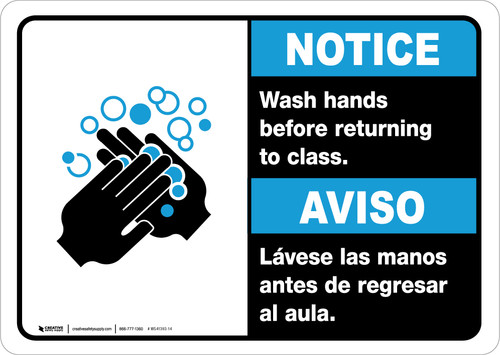 Notice: Wash Hands Before Returning To Class Bilingual with Icon Landscape - Wall Sign