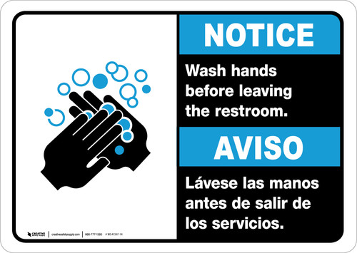 Notice: Wash Your Hands Before Leaving Restroom Bilingual with Icon Landscape - Wall Sign