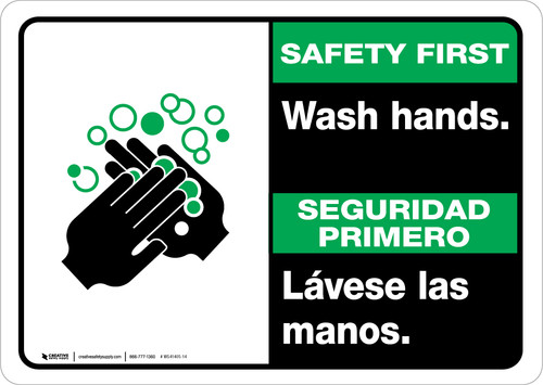 Safety First: Wash Hands Bilingual with Icon Landscape - Wall Sign