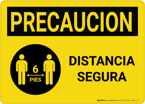 Caution Precaucion: Safe Distance with Icon Spanish Landscape - Wall Sign
