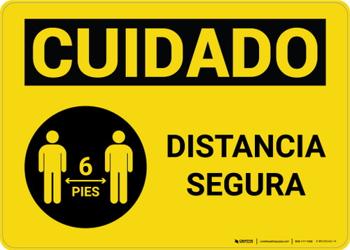 Caution: Safe Distance Spanish with Icon Landscape - Wall Sign